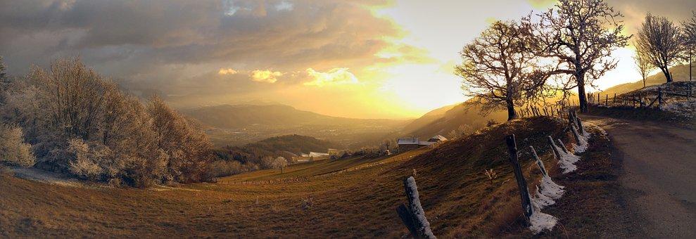 Nature, Sun, Mountain, France, Isère, Alps