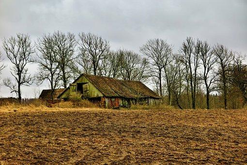 Old, Barn, Landscape, Spring, Abandoned