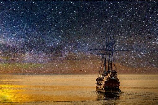 Ship, Night, Star, Sky, Ocean, Imagination, Dream