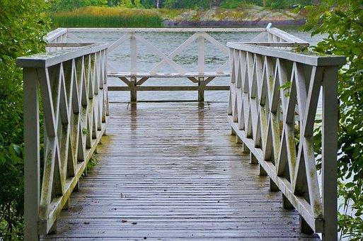 Bridge, Building, Wooden, River, Footbridge, Wood