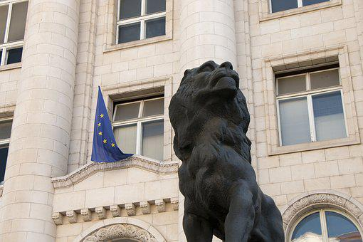 Bulgaria, The Statue Of, Lion, Palace, City, Flag