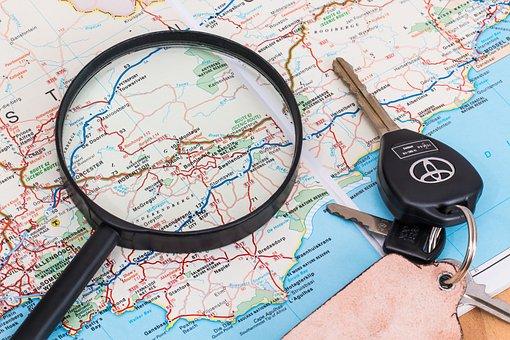 Map, Vacation, Travel, Driving, Holiday, Car Keys