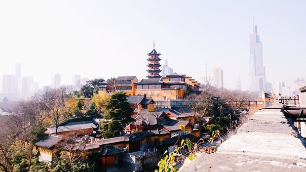 Nanjing, Temple, The City Walls, China, Tower