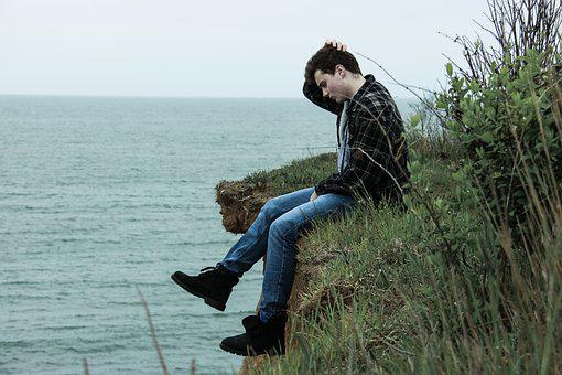 Ocean, Man, Cliff, Sea, Summer, People, Male, Young