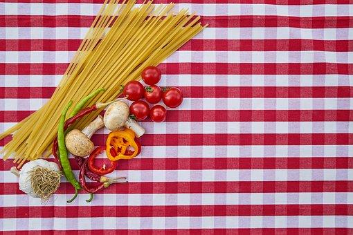 Pasta, Tomato, Pepper, Onion, Mushroom, Garlic