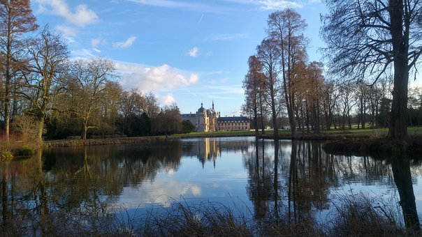 Chantilly, Reflection, France, Renaissance, Water, Old
