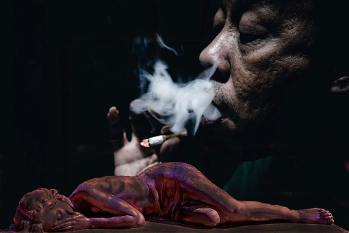 Cigarette, Smoke, Abuse, Sad, Battery, Woman, Secret