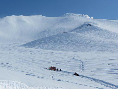 Volcano, The Foot, Slope, Travel By Snowmobile, Rotrak