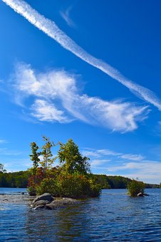 Lake, Island, Water, Landscape, Lily Pads, Trees, Sky