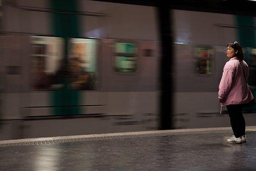 Woman, Station, Waiting, Metro, Train, Subway