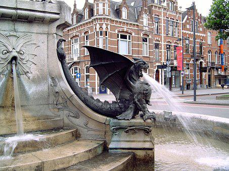 Work Of Art, Fountain, Dragon, Water, Spit, Dangerous