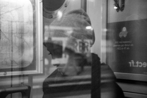 Woman, Reflection, Metro, Subway, Female, Girl
