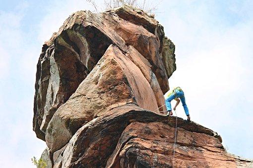 Climb, Rock, Climber, Mountain, Abseil, Rock Wall