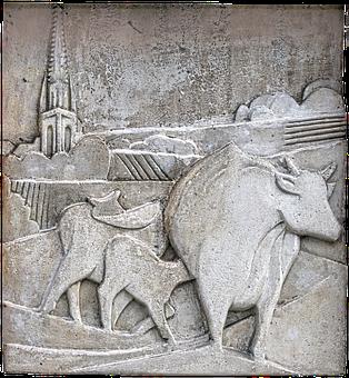 Relief, Mural, Artwork, Beef, Steeple, Scene, Scenery