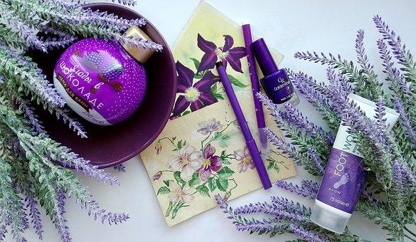 Lavender, Cosmetics, Care, Drawing, Women, Flatley