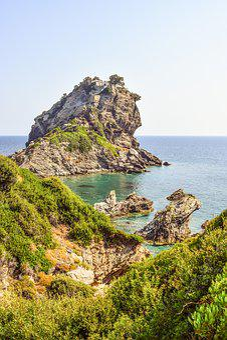 Greece, Skopelos, Kastri, Ayios Ioannis, Rock, Coast