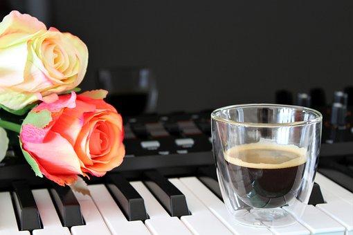 Coffee, Roses, Cup, Flower, Food, Drink, Espresso