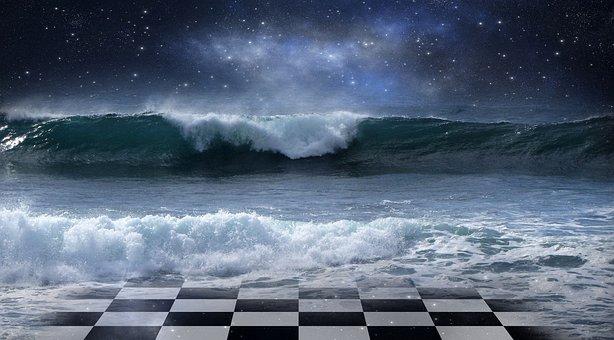 Ocean, Sea, Water, Wave, Chess, Chess Board, Flood