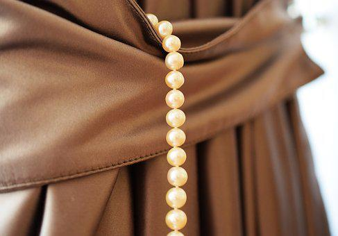 Pearls, Jewelry, Necklace, Closeup, Fabric, Brown