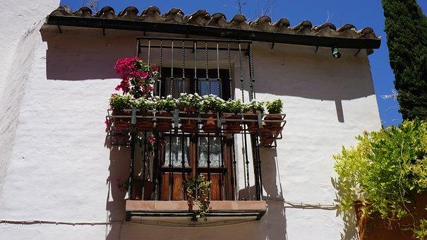 Balcony, Flowers, Shutters, City, Building, Tourism
