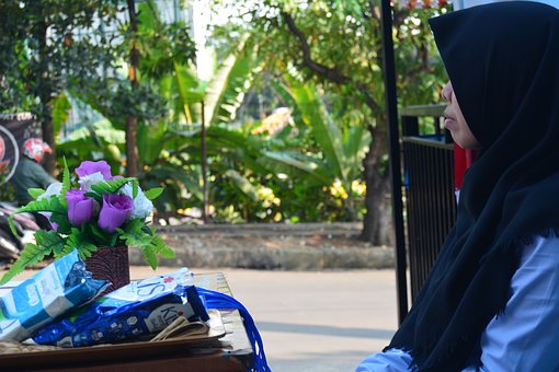 Wait, Own, Staring, Girl, Hijab, Indonesian