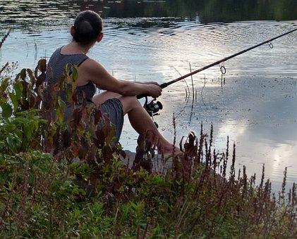 Woman, Fishing, Lake, Reflection, Rod, Water, Angling
