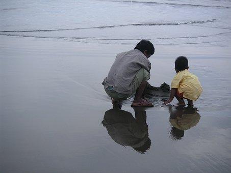 Human, Beach, Sea, Father, Son, Mirroring, Barefoot
