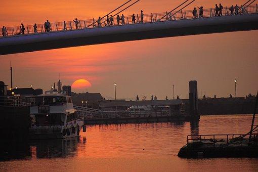Red, Sunset, People, Bridge, Sun, Light, Summer