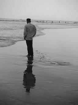 Human, Beach, Mirroring, By The Sea, Mood, Wave, Lonely