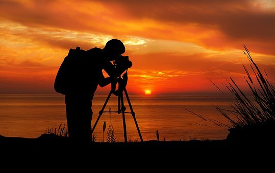 Sunset, Photographer, Camera, Tripod, Sun, Black