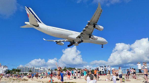 Caribbean, St Maarten, Maho Beach, Aircraft, Sky