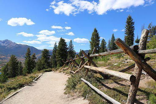 Fence, Logs, Trail, Colorado, Wood, Clouds, Trees