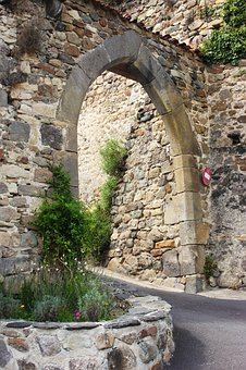 Gate, Wall, Old, City, Historic, Arch, France