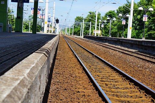 Subway, Train, Blue, Sky, Green, Tree, Metro, Station