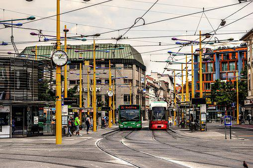 Jakominiplatz, Graz, Tram Stop, Tram, Bus, Bus Stop