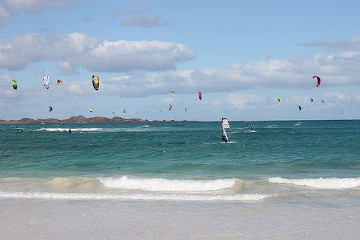 Fuerteventura, Spain, Canary Islands, Kite Surfing