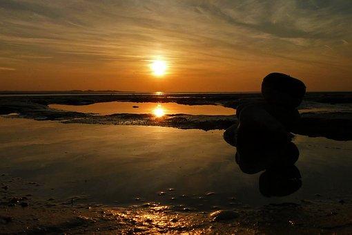 Sunset, Sea, Sun, Evening, Ocean, Twilight, Landscape