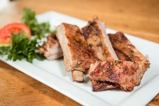 Meat, Pork, Ribs, Grill, Bbq, Fried, Food, Krupnyj Plan