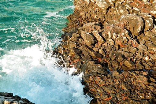 Sea, Stones, Beach, Wave, Surf, Color