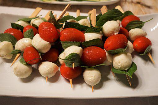 Tomatoes, Mozzarella, Skewers, Eat, Delicious, Frisch