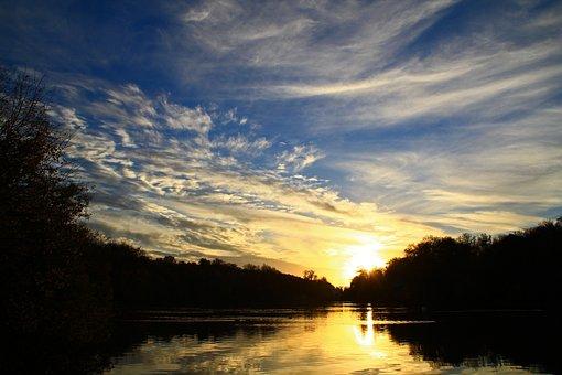 Sunset, Pond, Nature, Twilight, Summer, Landscape