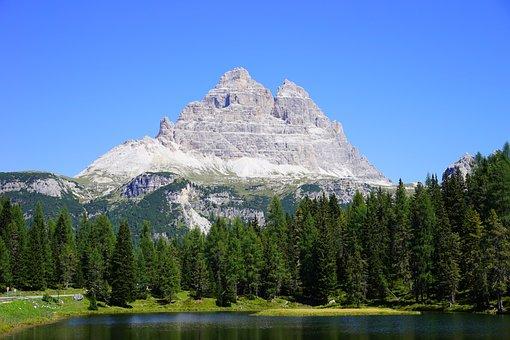 Three Zinnen, Antorno Lake, Lake, The Sesto Dolomites