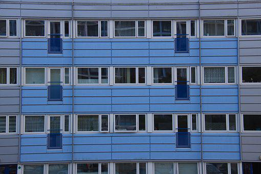 Blue, Balconies, Property, Apartments, House, Façade