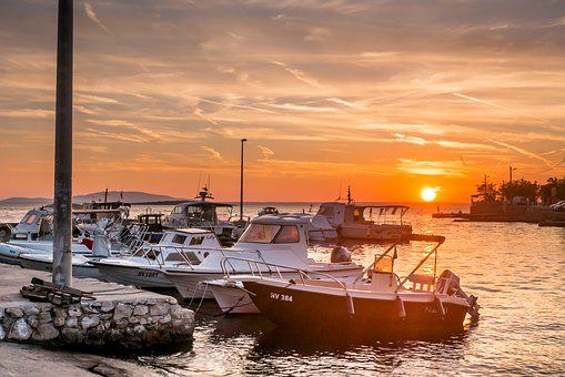 Sea, Sunset, Boats, Lun, Croatia, Pag, Ocean, Horizon