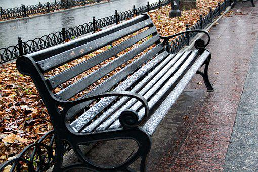 Winter, Chair, Snow, Yellow Leaves, Deserted, Dreaming