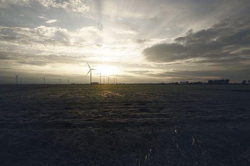 Sunset, The Windmills, Evening, Nature, West