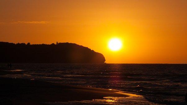 West, The Sun The Sun, Sea, Evening, Sky, Clouds