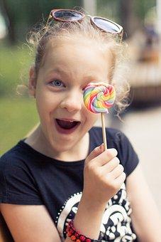 Girl, Lollipop, Childhood, Emotions, Person, Joy