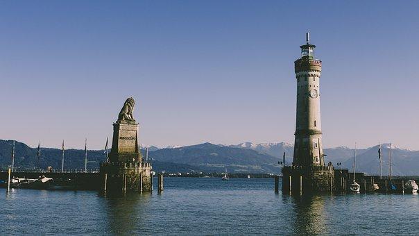 Lindau, Harbour Entrance, Lighthouse, Landmark, Lion