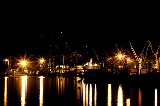 Harbor, Light, Night, Exposure, Come, Ship